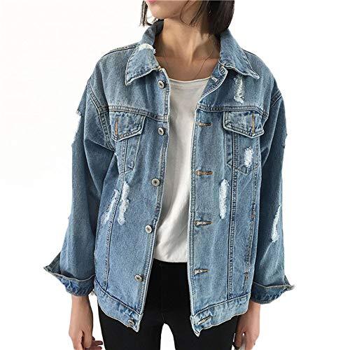 NZJK herfst vrouwen denim jas lange mouwen jas vintage losse casual jeans mantel dames meisjes outwear