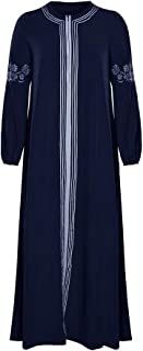 Female Robe Abaya Turkish Bangladesh Jilbab Pakistan Muslim Abaya Dress Islamic Clothes Caftan Arabian Robes (Color : Dark Blue, Size : M)