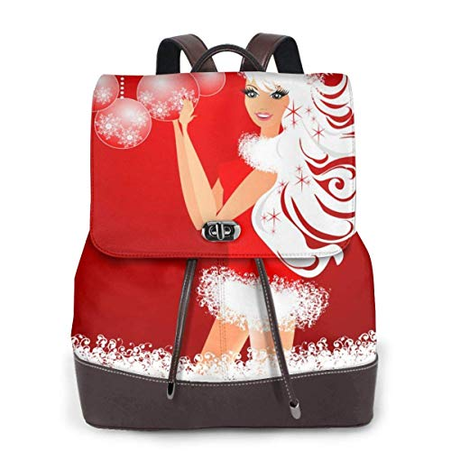 Yuanmeiju Womens Rucksack Backpack Christmas Fashion Pretty Girl Red Shoulder Daypack Leather Laptop Bag Girls