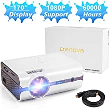 Crenova Upgraded (+80% Lumens) LED Portable Projector with Carrying Box, 1080P Supported HD Home Projector, Video Projector, Compatible with Fire TV Stick, HDMI, VGA, USB, TF, iPhone, iPad