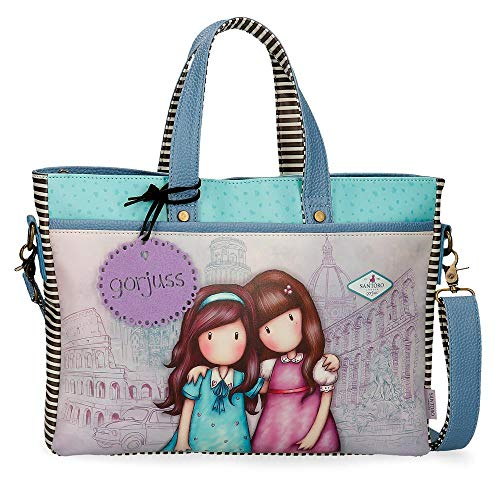 "Santoro Gorjuss Friends Walk Together Bolso para Portátil 14"" Morado 39x28x6,5 cms Piel Sintética"