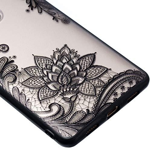 Grandoin Huawei Honor 6X Hülle, 2 in 1 Ultra Dünne Schale Ultra Dünn Weich TPU Bumper Case Silikon Schutzhülle Handy Tasche für Huawei Honor 6X (Schwarzer Lotus) - 3