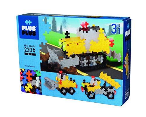 Plus-Plus 9603768 Geniales Konstruktionsspielzeug, Baustelle, Mini Basic, 3-in-1 Bausteine-Set, 220 Teile
