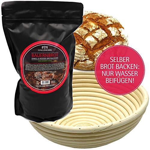 Hallingers Natürliche Brotbackmischung Gärkorb-Set (1.000g) - Set Bauernbrotmix, Backmix und Gärkorb (Aromabeutel) - zu Passt immer Corona Hamster