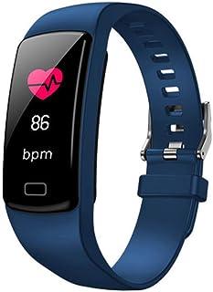 HZYYZH Deportes Inteligentes Actividad Pulsera De Seguimiento De La Frecuencia Cardíaca Podómetro Inteligente Monitoreo De Pulsera Resistente Al Agua del Sueño,Azul