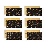 VALICLUD シックな6個ビジネスブラックバースデーサンキューカードクリスマスカードサンクスギビングゴールドグリーティングカード