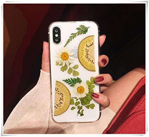 Apple Pure handgemaakte telefoonschaal, fruit en gedroogde bloemen mobiele telefoonschaal, kiwi's en gele bloemen mobiele telefoonschaal, silicagel mobiele telefoonschaal, anti-vallende mobiele telefoonschaal, telefoon i7/i8