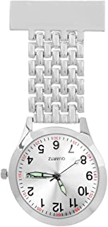 Fob Watches for Nurses, BicycleStore Nursing Watch with Adjustable Date and Weekday Stainless Steel Lapel Pin Watch Quartz Doctor Pocket Watch Clip-on for Women Men Birthday Gift (Silver)