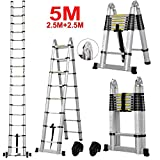 Vlio 5M Telescopic Ladder DIY Aluminum Alloy Folding Extendable Extension Ladder A-Frame Multi Purpose (Load Capacity 150kg)