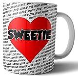 Tazza con scritta 'Sweetie' a forma di cuore, idea regalo per lui o per lei, compleanno, anniversario, San Valentino
