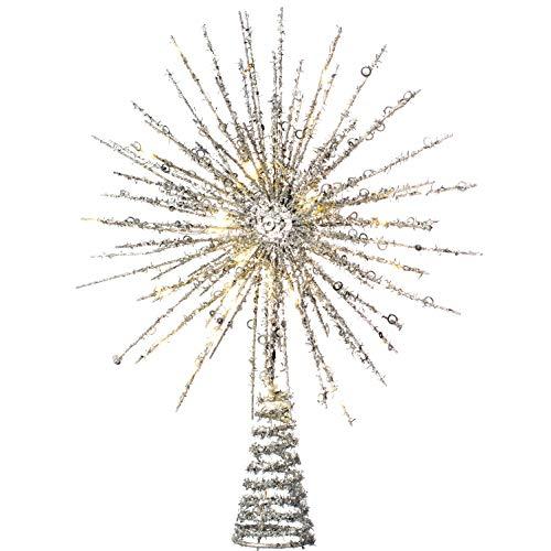 WeRChristmas - Adorno para árbol de Navidad con Purpurina, Plateado, 32 cm