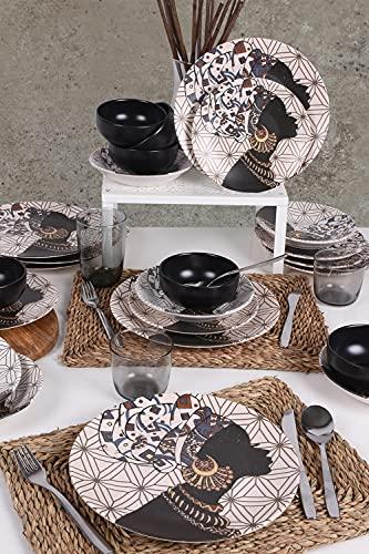 Juego de comedor africano, 24 piezas, para 6 personas, platos hondos, platos llanos, platos de postre y cuencos, vajilla moderna vintage, servicio combinado.