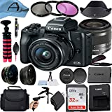 Canon EOS M50 Mirrorless Digital Camera with EF-M 15-45mm is STM Zoom Lens, SanDisk 32GB Memory Card, Bag and A-Cell Accessory Bundle (Black)
