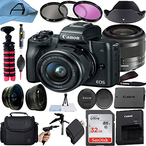 Canon EOS M50 Mirrorless Digital Camera with EF-M 15-45mm is STM Zoom Lens, SanDisk 32GB Memory Card, Bag and A-Cell...