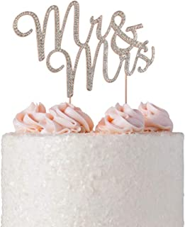 Premium Mr and Mrs Rhinestone Cake Topper. Crystal, Diamond Gem Decoration is a Perfect Wedding, Anniversary, Bridal Shower or Vow Renewal Party Keepsake for Bride and Groom (Mr & Mrs Rose Gold)