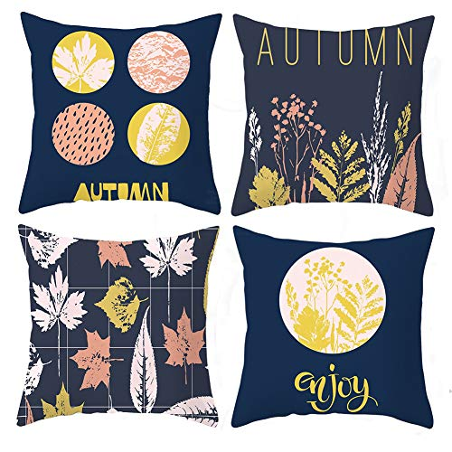Meltset 4Pcs Decorative Cushion Covers Autumn Square Soft Pillow Cover Throw Pillow Case for Sofa, Couch, Bed, Bedroom, Wedding, Livingroom, Office 45cm x 45cm