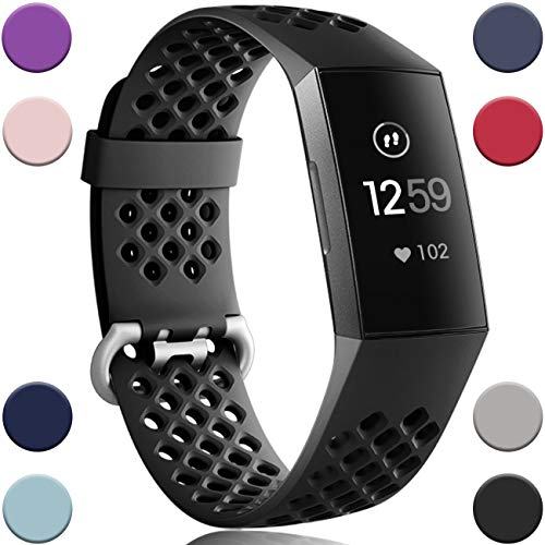 Wepro Bands Replacement Compatible Fitbit Charge 3 for Women Men Large, Waterproof Breathable Holes Watch Sport Strap Accessories for Fitbit Charge 3 SE Fitness Tracker, Black
