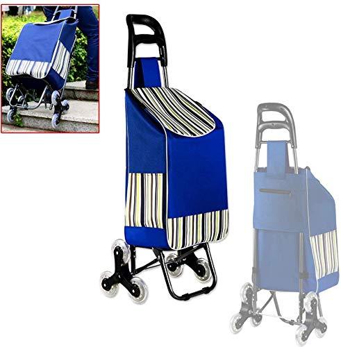 AJH Klappbare Einkaufswagentasche, Faltbarer Trolleywagen, 3-Rad-Treppensteigwagen, faltbar, große Kapazität, leicht zu erklimmende Treppe, zum Einkaufen, Picknicken, Aufbewahren zu Hause usw.