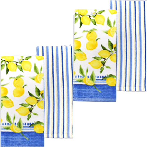 Food Network Striped Lemon Kitchen Towel 4 pack set