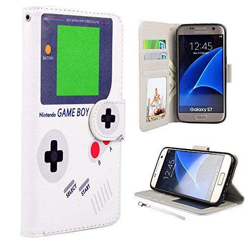 S7 Case, Galaxy S7 Case, UrSpeedtekLive Premium PU Leather Wristlet Flip Wallet Case with Card Slots & Stand Cover for Samsung Galaxy S7, Gameboy