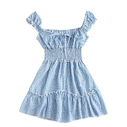 ZAFUL - Vestido de verano para mujer, estampado de flores, sin mangas, mini vestido de playa azul celeste S