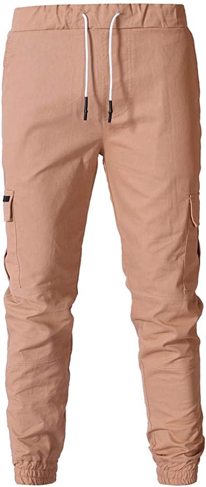 eipogp Mens Cotton Cargo Pants Casual Track Pants Jogger Sweatpants Long Trouser with Multi Pocket Ribbed Bottom