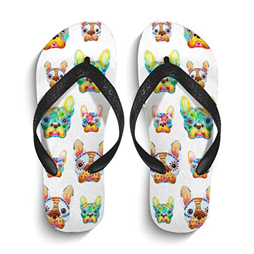 INTERESTPRINT Lightweight Flip Flop Slippers French Bulldog Sugar Skull Frenchie Cute Dog Non-Slip Thong Sandal Casual Footwear for Men L