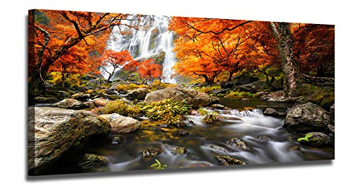 Ardemy Canvas Wall Art Waterfall Nature Scenery Painting Prints Vintage One Panel Long Artwork Wooden Framed Stunning Pictures Ready to Hang for Living Room Bedroom Kitchen Home and Office Wall Decor