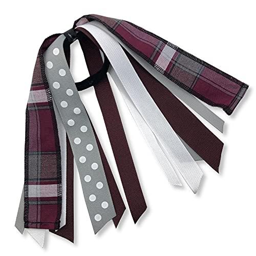 Ponytail Ribbon Streamers - School Uniform Plaid Hair Accessories for Girls with No Damage Nylon Band (Plaid 54)