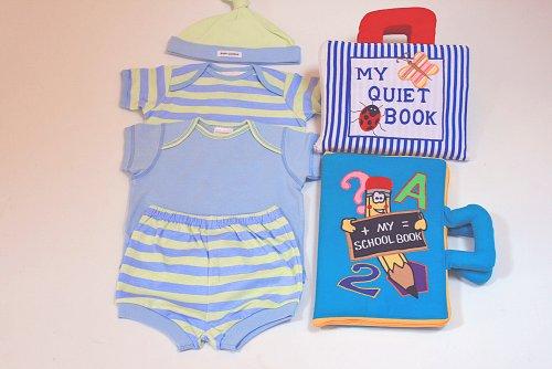 布絵本MY QUIET BOOK ブルーストライプ&My School playbookマイスクールプレイブックプラスおまけ おしゃれなボディ肌着ブルー