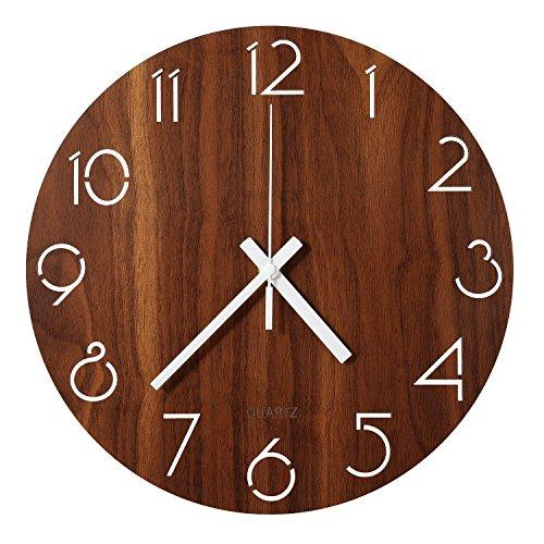 LENRUS 12 Zoll/30CM Hölzern Wanduhr Küchenuhr Nicht-tickende Uhr für die Küche Home Office Wohnzimmer und Schlafzimmer (Dunkelbraun)