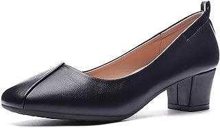 CINAK Women's Chunky Low Heels-Comfort Square Toe Pumps Wedding Dress Office Shoes