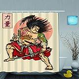 Cortina de baño Repelente al Agua,Estilo de Tatuaje de héroe japonés Samurai Dibujar Las Palabras Kanji japonesas Significa Fuerza,Cortinas de baño de poliéster de diseño 3D con 12 Ganchos