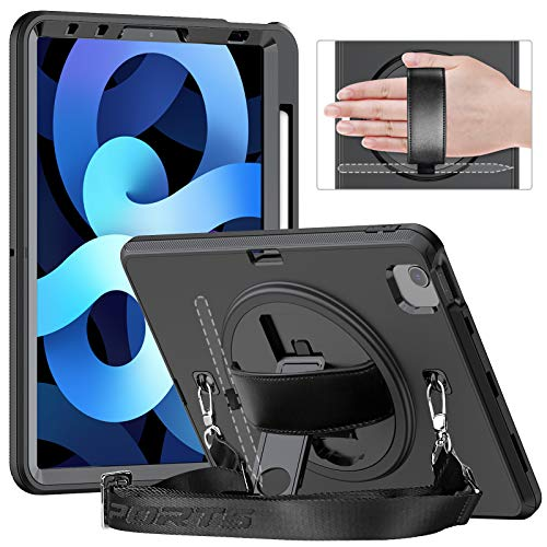 Timecity Case Compatible with iPad Air 4 2020, iPad 10.9 Case/iPad Por 11 Case, Shockproof Case with Pencil Holder Screen Protector Anti-drop & Rotating Handle/Shoulder Strap Kickstand - Black