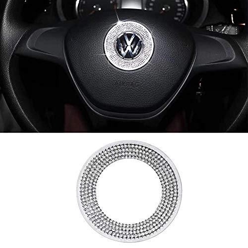 MAXDOOL Car Interior Bling Accessories for Volkswagen Jetta Passat Golf Tiguan Arteon Atlas Steering Wheel Sign Logo 3D Rhinestone Decals Cover
