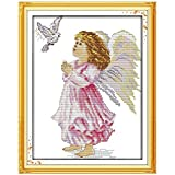 YMSWTF El ángel de la Pintura de la Paz contó la Puntada Cruzada 11CT 14CT STICTED Cross Stich Set DIY Kit DE PUNTAMIENTO Cross Bordado CUCUERZA (Cross Stitch Fabric CT Number : 11CT Picture Printed)