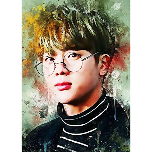 yaoxingfu Puzzle 1000 Piezas La Estrella de la Cantante Coreana de BTS dibuja Personajes Populares Puzzle 1000 Piezas Adultos Rompecabezas de Juguete de descompresión intelectual50x75cm(20x30inch)