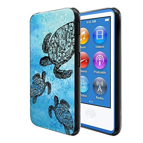 FINCIBO Case Compatible with Apple iPod Nano 7 (7th Generation), Flexible TPU Soft Gel Skin Protector Cover Case for iPod Nano 7 - Ocean Sea Turtle