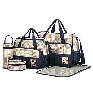 Bolso BEBE BORDADO CARITA OSITO BEBELOVERS Bolso maternal con bolsillos tipo maleta MOBIBE KOKETES Azul