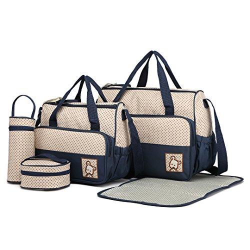 Miss Lulu 5er-Set Baby Wickeltasche Babytasche Tasche Mutter Windeltasche Handtasche Schultertasche Flaschenhalter mit wickelunterlage (Marine)