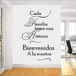 xutongrui  Spanish Home Quotes Vinilos decorativos Cada familia tiene una historia BIENVENIDOS a nuestros vinilos adhesivos de pared Decoración para el hogar Sala de estar 56X89cm