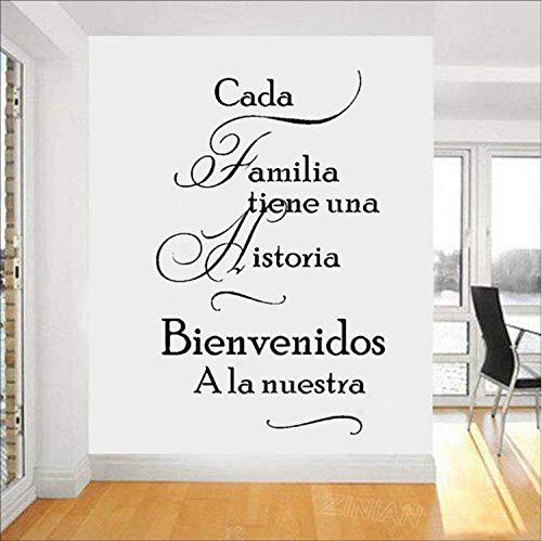xutongrui Spanish Home Quotes Vinilos decorativos Cada familia tiene una historia BIENVENIDOS a nuestros vinilosadhesivos depared Decoración para el hogar Sala de estar56X89cm