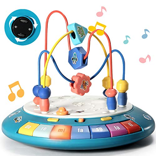 Baby Toys 6 to 12-18 Months Boy Girl Baby Einstein Toys for 1 Year Old Bump and Go Bead Maze with Music Light Toddler Learning Toys 3-6 months Preschool Educational Infant Toys Gifts for UFO Design