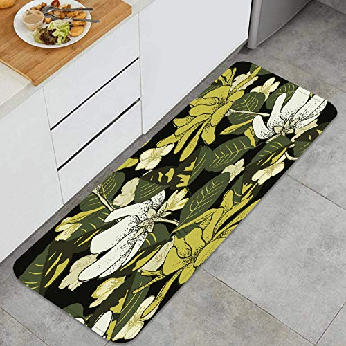 FQWEDY Non-Slip Kitchen Standing Mat Rugs seamless herbal background fashion design Floor Decor release pressure Carpet Comfort Mats for Home, Sink, Laundry-120cm x 45cm