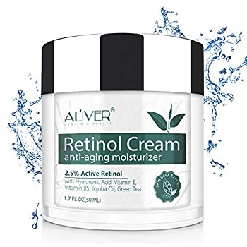 Retinol Cream for Face with Hyaluronic Acid Anti Aging Moisturizer for Neck with 2.5% Retinol and Hyaluronic Acid Vitamin E B5 Jojoba Oil Green Tea Best Day and Night time Anti Wrinkle Cream