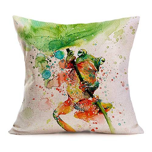 Asamour Watercolor Animal Style Throw Pillow Covers Frog Pattern Cotton Linen Cushion Case Square Home Sofa Decorative Pillowcase 18inches (Frog)