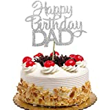 happy Birthday DAD Cake Topper for Father's Birthday, Best Dad Ever Cake Party Decorations Silver Glitter