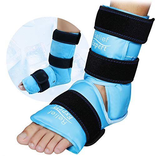 Relief Expert Ankle Foot Ice Pack Wrap for Injuries Reusable Gel Cold Pack with Cold Compression Therapy, Instant Pain Relief for Achilles Tendonitis, Plantar Fasciitis, Foot Heel - Soft Plush Lining