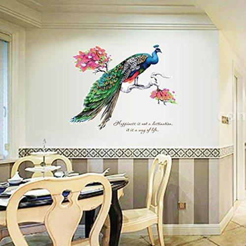 Resplend_Haushalt Aufkleber,Resplend DIY Tapete Wandbilder Entfernbar Wandaufkleber Kreativität Modisch Wandtattoos Pfau Klebende Wandsticker Kunst Wohnkultur Wanddeko (Mehrfarbig)