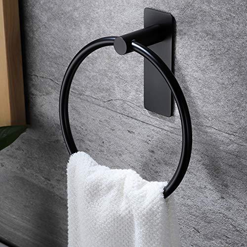ZUNTO Handtuchring Selbstklebend Handtuchhalter Ring Ohne Bohren Handtuchstange für Badezimmer und Küche, Schwarz